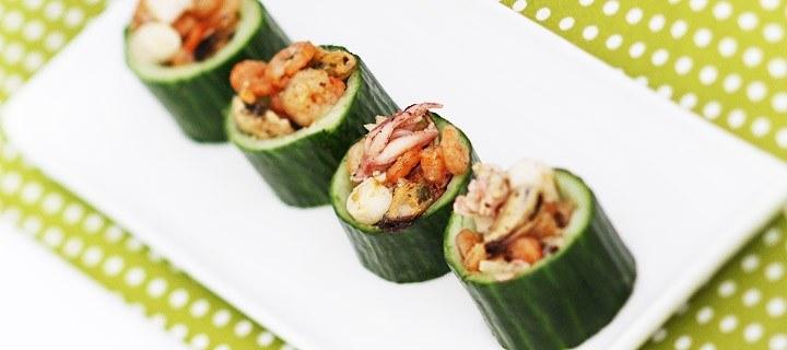 Komkommer met zeevruchten