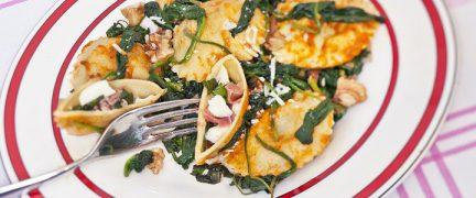 Ravioli met mozzerella spinazie