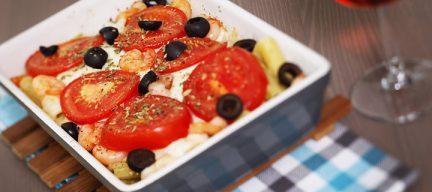 Pasta met garnalen en mozzarella