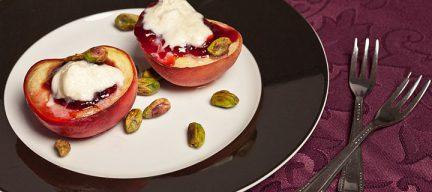Perzik met pistache