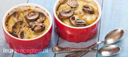 Aardappelgratin met champignons