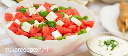 Watermeloen met feta salade