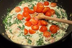 pasta met spinazie en champignons 01