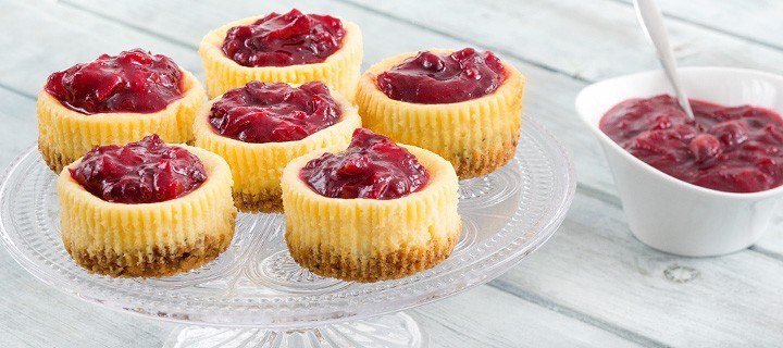 Mini cheesecakes met cranberry