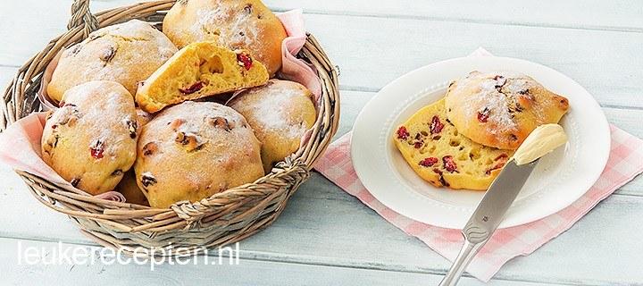 Verwenontbijtje: vanillebroodjes met cranberries