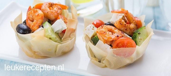 Griekse salade in filodeeg