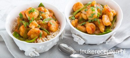 Light recept: curry met garnalen