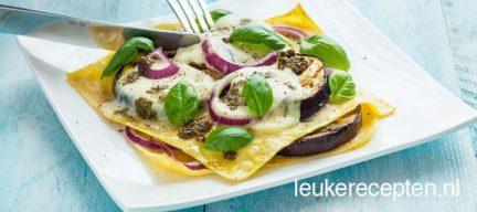 Open lasagne met aubergine
