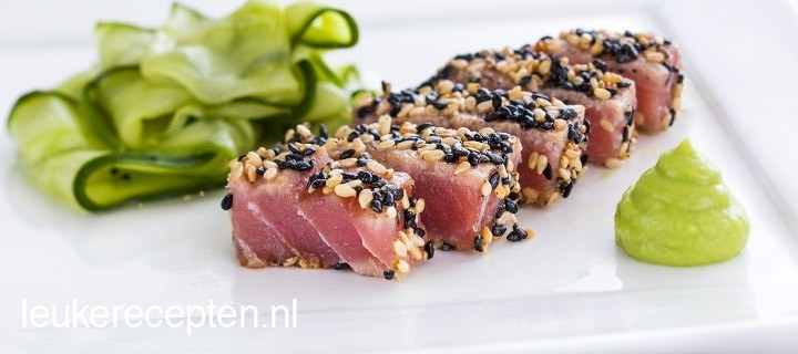Snel gegrilde sashimi van tonijn of rundvlees (tataki