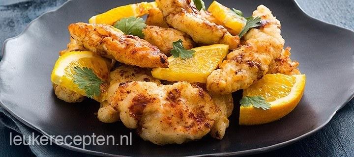 Oosterse kip met sinaasappelsaus