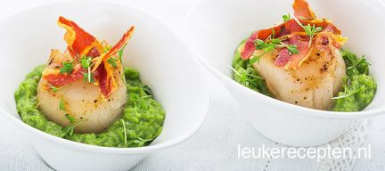 Coquilles met avocado doperwtenpuree