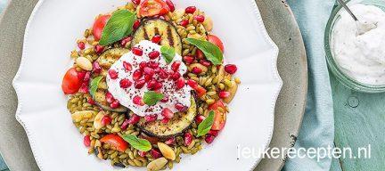Freekeh salade met aubergine