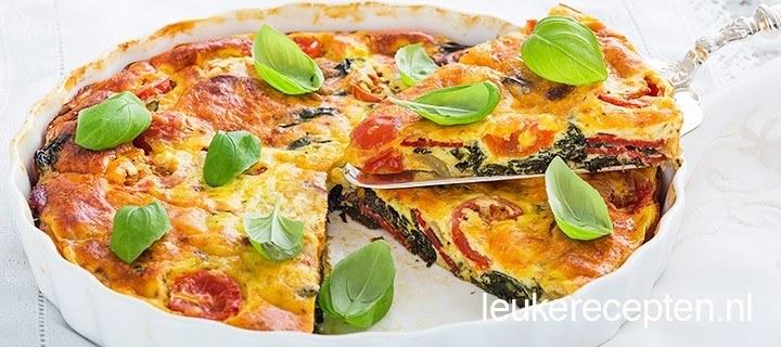 Frittata met spinazie en chorizo