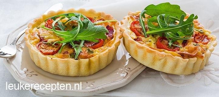 Mini quiche met spek en tomaten
