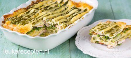 Lasagne met asperges en kip