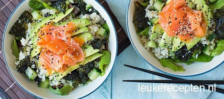 Sushi salade met zalm