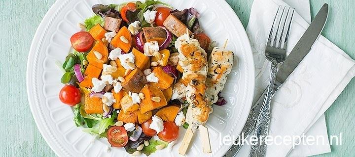 Zoete aardappel salade met kip