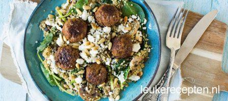 Quinoa met spinazie en gehaktballetjes