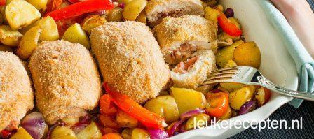 Kip cordon bleu met geroosterde groenten