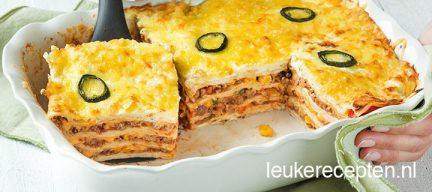 Lasagne van tortilla wraps