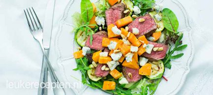 Light recept: biefstuksalade met gorgonzola