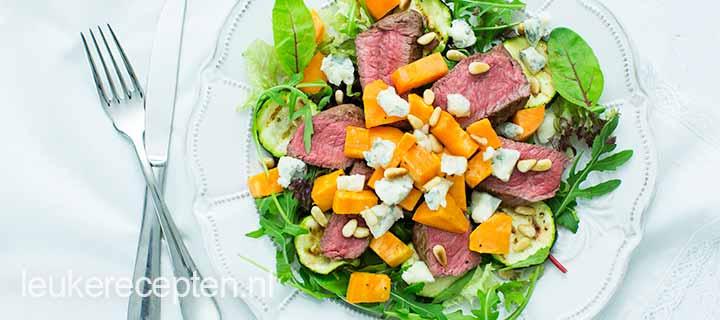 Light recept: biefstuksalade met gorgonzola