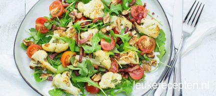 Geroosterde bloemkool salade met spekjes