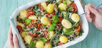 Ovenschotel met aardappels en sperziebonen