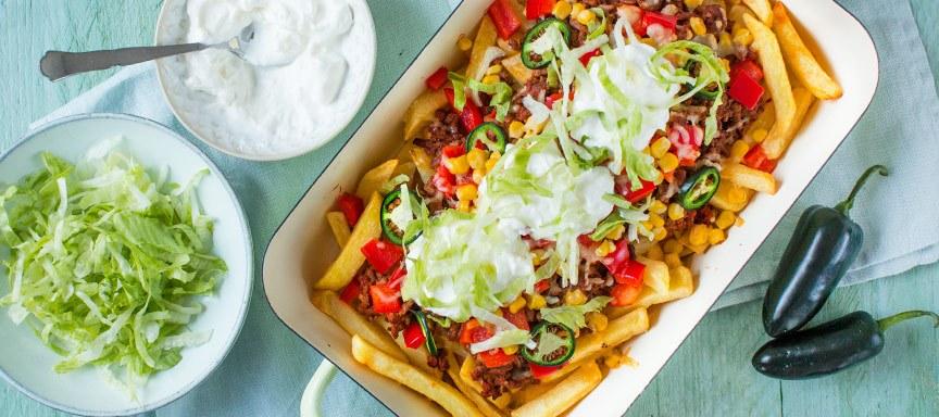 Taco friet met gehakt topping