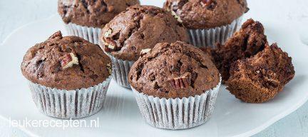 Chocolade muffins met pecan