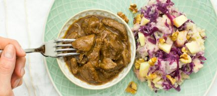 Hachee met rode kool stamppot + 5 tips voor mals stoofvlees