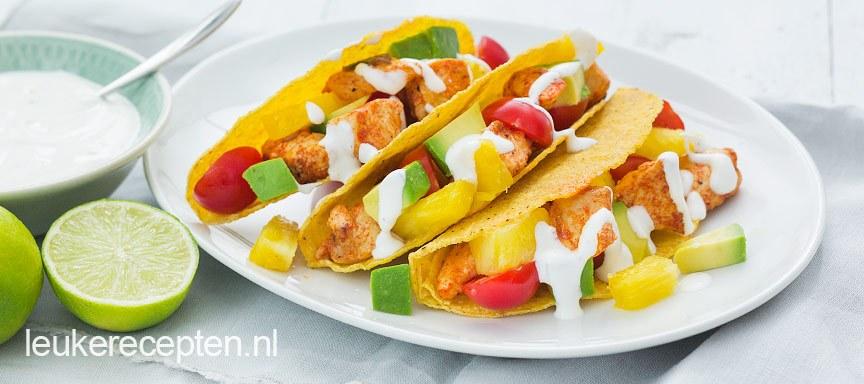 Taco's met kip en ananas