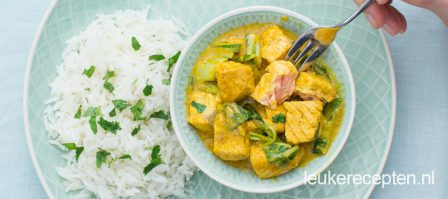 Zalm curry met paksoi