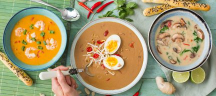 Eerste yogales en 3 nieuwe Aziatische soepen + sesamstengels