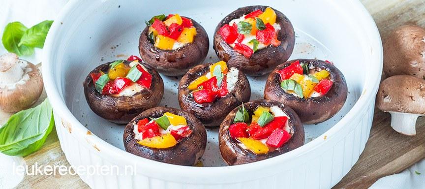 Gevulde champignons met paprika