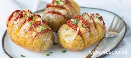 Aardappel waaiers met chorizo