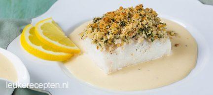 Krokante vis met witte wijnsaus