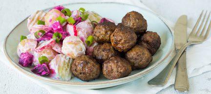 Zweedse balletjes met aardappelsalade