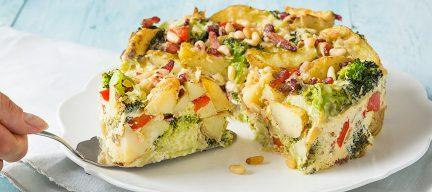 Aardappeltaart met broccoli