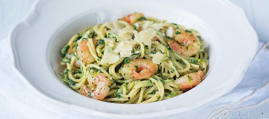 spaghetti met spinazie en garnalen - leuke recepten