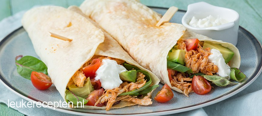 Wraps met pulled chicken