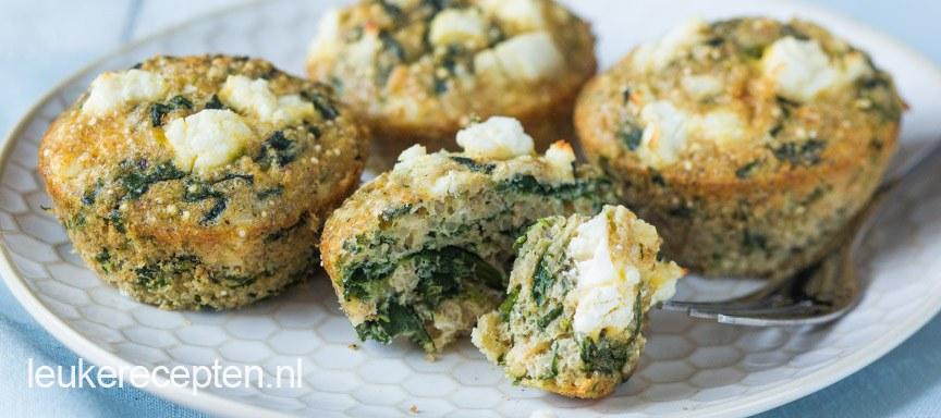 Quinoa muffins met spinazie