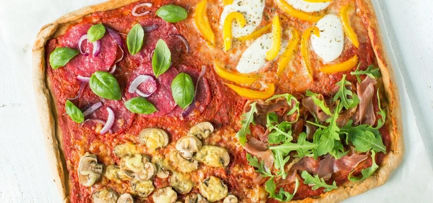 Volkoren pizza quattro stagioni