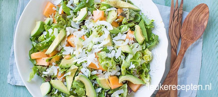 Salade met meloen en kokos