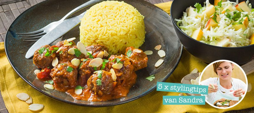 Recept tikka masala met gehaktballetjes + 5 foodstyling tips