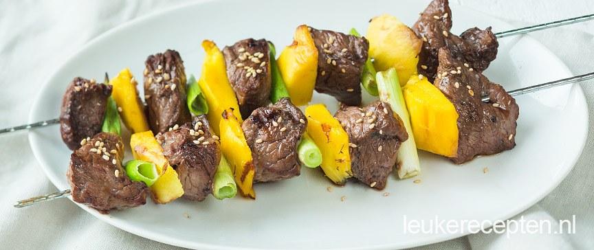 Oosterse biefstuk spies met mango