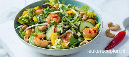 Oosterse salade met garnalen