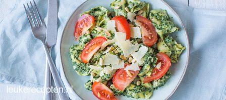 Tortellini met spinazie en kip
