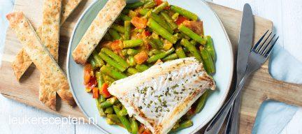Sperziebonen curry met vis