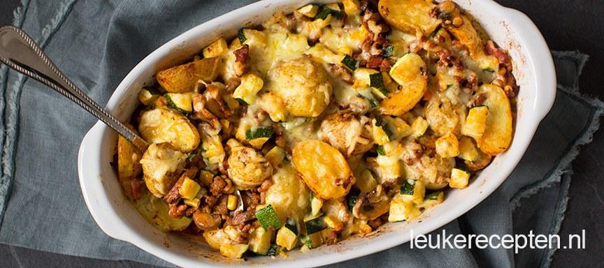 ovenschotel met aardappelen en groenten